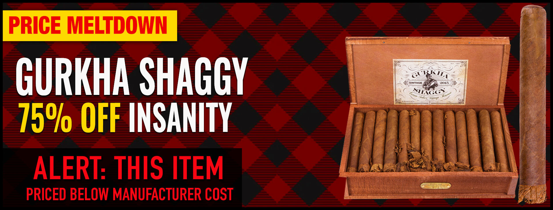 PRICE MELTDOWN: 75% OFF GURKHA SHAGGY