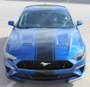 front of blue HYPER RALLY   2021 2020 2019 2018 Ford Mustang Center Matte Black Stripes