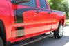 "close up FLOW : 2018 2017 2016 Chevy Silverado ""Special Edition Rally"" Hood and Side Door Body Hockey Accent Vinyl Graphic Stripe"