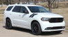 front angle of 2020 Dodge Durango Hood Decals  DOUBLE BAR 2011-2019 2020 2021