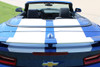 rear of blue Chevy Camaro Convertible Wide Stripes CAM SPORT PIN 2016-2018