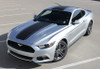 front angle of silver Ford Mustang Wide Top Stripe Decals MEDIAN 2015 2016 2017 | FCD