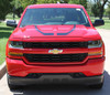front hood of red Chevy Silverado Hood Decals FLOW HOOD Stripes 2016 2017 2018