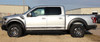 drivers side of silver 2019 Ford F150 Raptor Side Decals VELOCITOR ROCKER 2018-2020