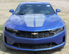 front of blue 2019 Chevy Camaro Duel Racing Stripes REV SPORT PIN 2019-2020