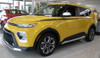 front angle of yellow 2020 Kia Soul Side Graphics OVERSOUL NEW FCD Designs!