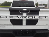 rear of white 2020 Chevy Silverado Racing Stripes BOW RALLY 2019-2020