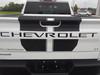 rear of white 2020 Chevy Silverado Racing Stripes BOW RALLY 2019-2021