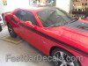 front angle of red 2020 Dodge Challenger Side RT Stripes DUEL 15 Shaker 2015-2020