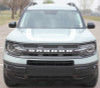 front view of NEW 2021 Ford Bronco Hood Stripe Decals REVIVE HOOD All Models