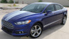 side of blue 2018 Ford Fusion Hood Stripes DAGGER HOOD 2013-2018
