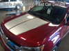 front high angle of red 2019 Chevy Colorado Hood Stripes SUMMIT HOOD 2015-2020