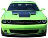 front view of green 2018 Dodge Challenger RT Hood Stripes CHALLENGE HOOD 2015-2021