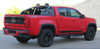 passenger side of red GMC Canyon Lower Rocker Decals RAMPART KIT 2015-2021