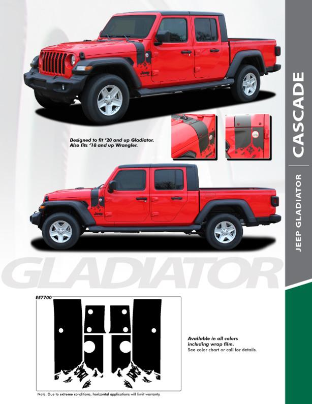 NEW STRIPE! for 2020-2021 Jeep Gladiator & 2018-2021 Wrangler Hood Decals CASCADE