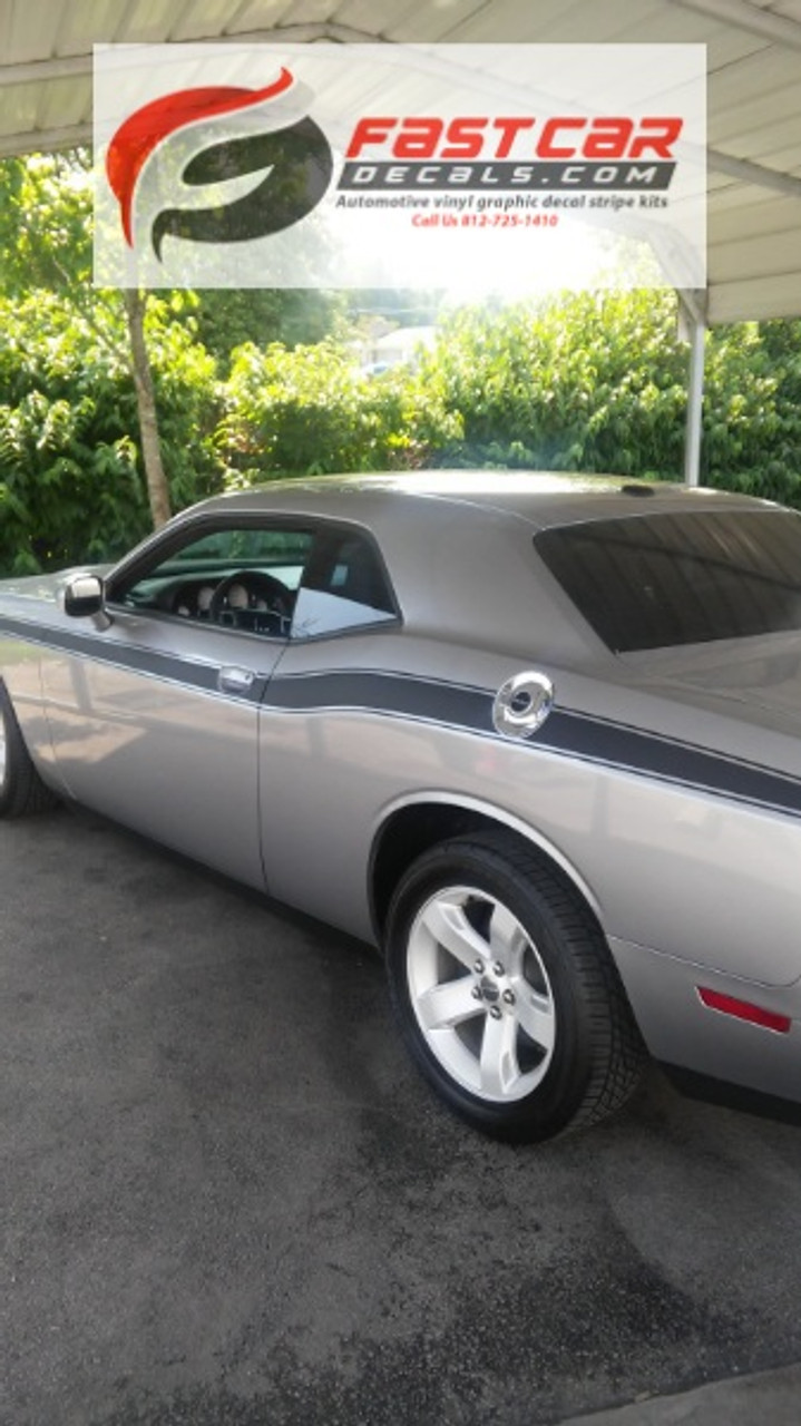 DODGE CHALLENGER TEXT FRONT ANGLE DUEL 2008-2010 FACTORY STRIPE DECAL GRAPHIC
