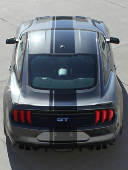 rear of EURO RALLY | 2018 Ford Mustang Center Vinyl Matte Black Stripe 3M