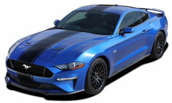 front angle of HYPER RALLY   2021 2020 2019 2018 Ford Mustang Center Matte Black Stripes