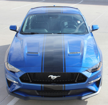 front of blue HYPER RALLY | 2018 Ford Mustang Center Matte Black Stripes 3M FCD