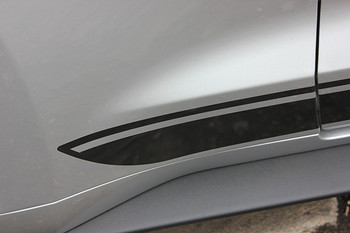 close up FADED ROCKER | Ford Mustang Stripe Black & Mustang text 2015-2018