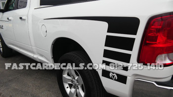 rear angle of white Factory style POWER WAGON Dodge Ram 1500 Stripes 2009-2018 (2019-2021 Ram Classic)