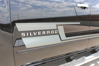 close up of door 2017 Chevy Silverado Black Side Stripes SHADOW 2013-2016 2017 2018