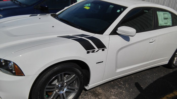side of white 2018 Charger Fender Stripes CHARGER 15 DOUBLE BAR 2011-2020