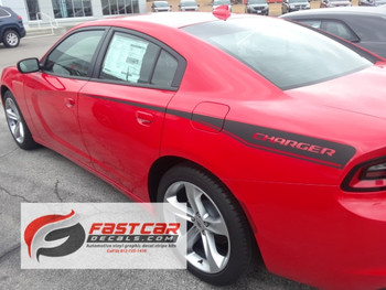 side of red 2019 Dodge Charger Side Decals 15 RECHARGE 2015-2021