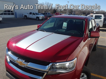 front of red 2021 Chevy Colorado ZR2 Hood Stripes SUMMIT HOOD 2015-2021