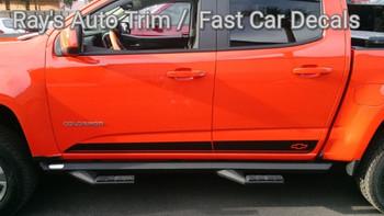 side of orange Chevy Colorado Pinstriping RAMPART 2015-2020