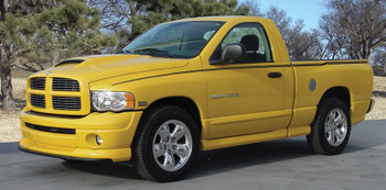 side of yellow Dodge Ram Custom Stripes CROSSROADS 2009-2015 2016 2017 2018