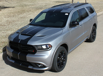 front angle of NEW! GT, SRT, RT Dodge DURANGO RALLY Racing Stripes 2014-2020
