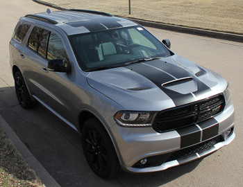 front left angle of NEW! GT, SRT, RT Dodge DURANGO RALLY Racing Stripes 2014-2021