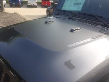 front of grey 2018 Jeep Wrangler Hood Decals SPORT HOOD JL 2018-2020
