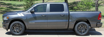 profile of 2019 Ram 1500 Stripes RAM HASHMARKS Fender Decals 2019-2020