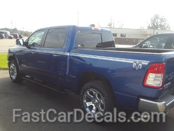 side of blue 2020 Dodge Ram 1500 Side Decals RAM EDGE 2019-2020