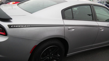 profile of RIVE : Dodge Charger Hood Spike Stripes and Rear Panel Side Decals fits 2015-2020