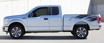profile of silver NEW Ford F150 Rear Bed Graphics ROUTE RIP 2015-2021