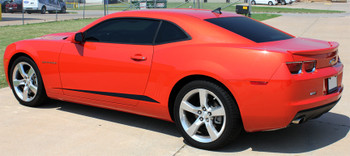 driver side of red 2014 Chevy Camaro Stripes ROCKER SPIKES & GILLS 2009-2015