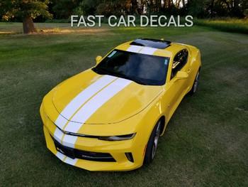 front angle of yellow 2016 Camaro Racing Stripes TURBO RALLY 3M 2016 2017 2018   FCD