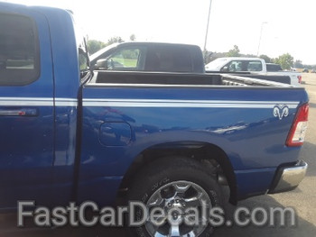 side of blue 2019 Ram 1500 Stripes RAM EDGE Side Decals Kit 2019 2020