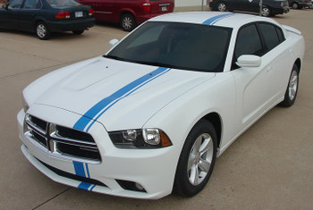 front of 2014 Dodge Charger Euro Stripes E RALLY 2011 2012 2013 2014