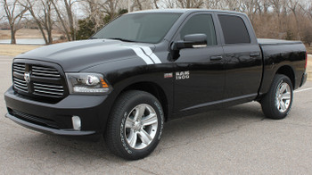 front of black 2016 Dodge Ram 1500 Fender Decals DOUBLE BAR 2009-2015 2016 2017 2018