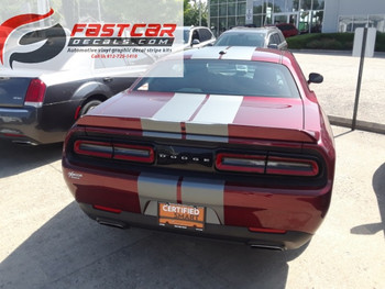 rear of red FAST! Hellcat, RT, 393 Dodge Challenger Racing Stripes 2015-2021