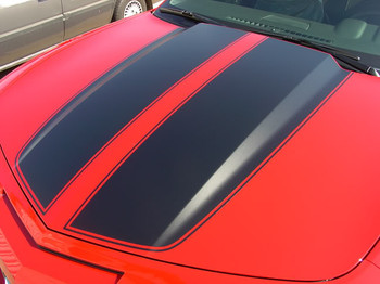 hood view of 2013 Chevy Camaro Rally Stripes R-SPORT RACING 2009-2015