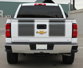 rear of white 2015 Chevy Silverado Rally Stripes 1500 RALLY 2013 2014 2015
