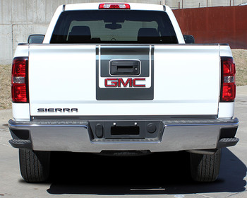 rear of white GMC Sierra Decal Kits MIDWAY 3M 2014 2015 2016 2017 2018