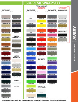 "Avery color chart for 12"" Inch Wide Auto Pin Stripe SOLID Tape Decal Roll 25' Long"
