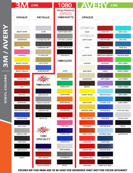"3M 1080 color chart for 6"" Inch Wide SOLID Pin Stripe Auto Tape Decal Roll 50' Long"