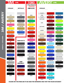 "3M 1080 color chart for SOLID 6"" Inch Wide Auto Pin Stripe Tape Decal Roll 75' Long"